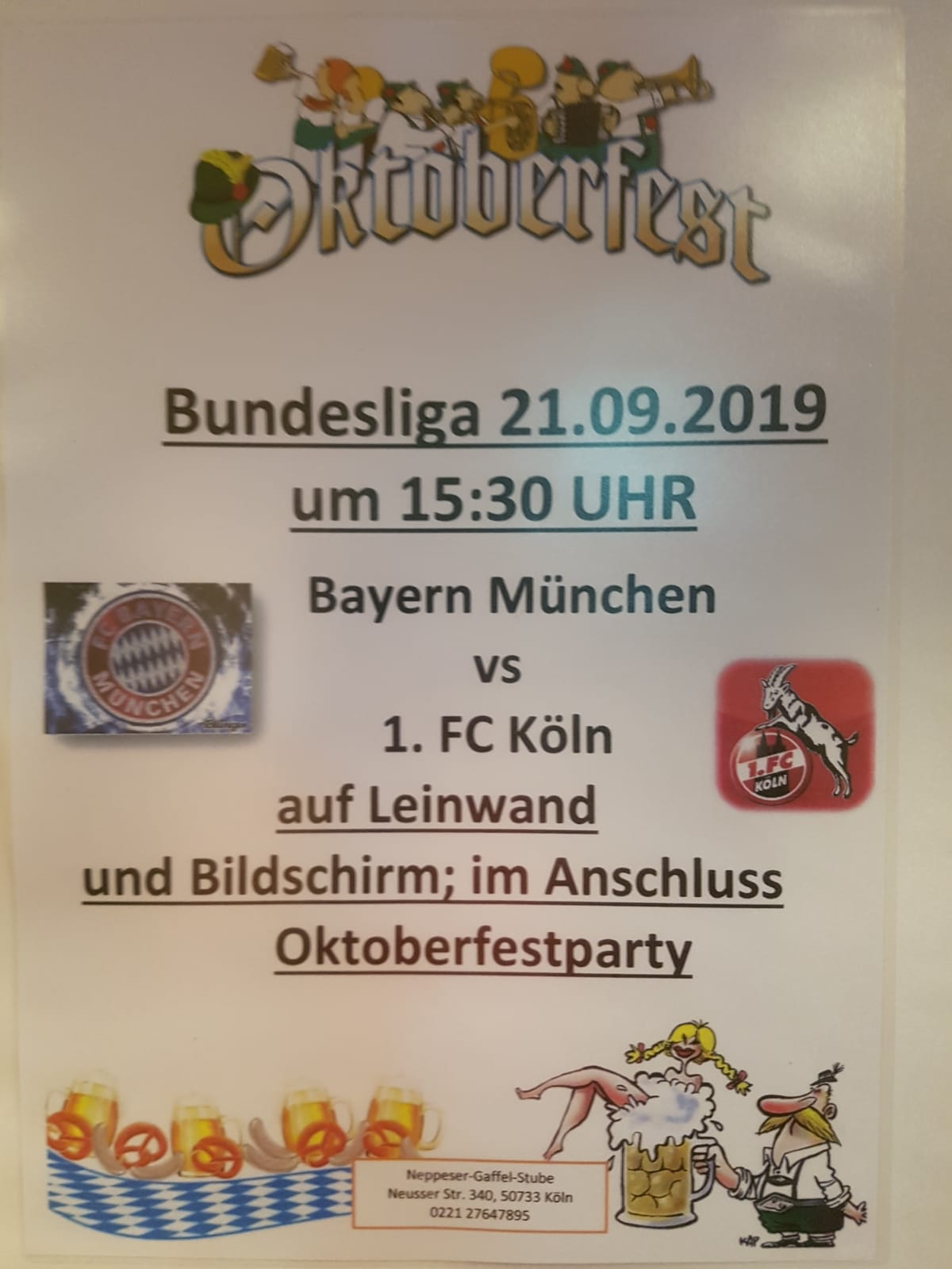 21.09.2019 Oktoberfest – Bundesliga Spiel Bayern München vs. 1. FC Köln ab 15:30