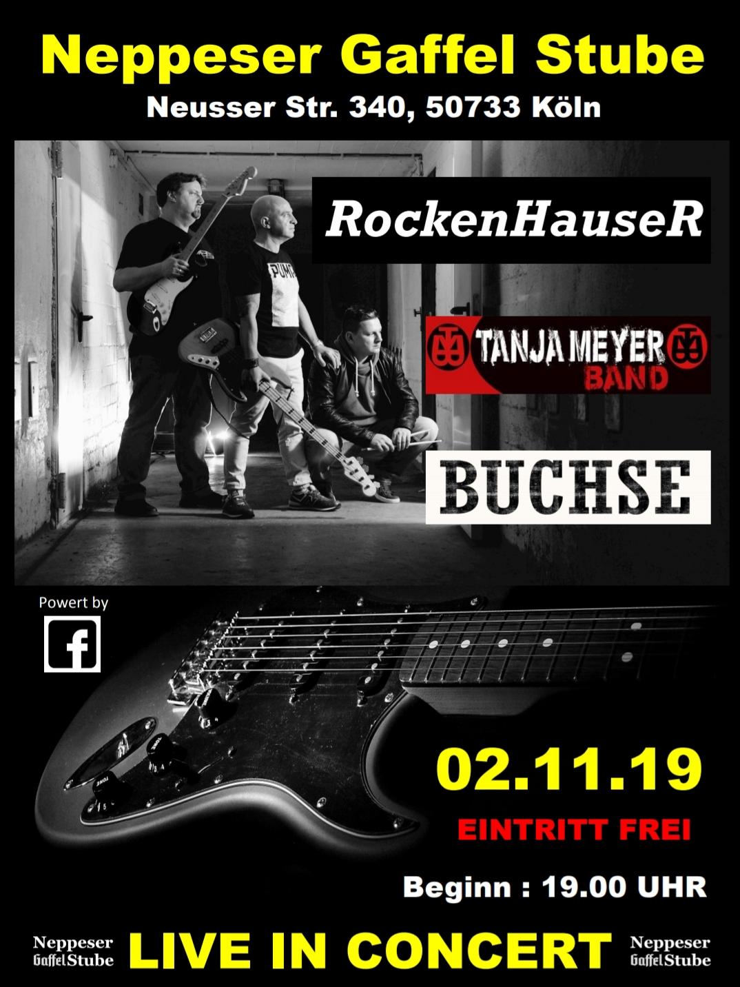 02.11.19 – RockenHauser / Tanja Meyer Band / Buchse Konzert – 19 Uhr