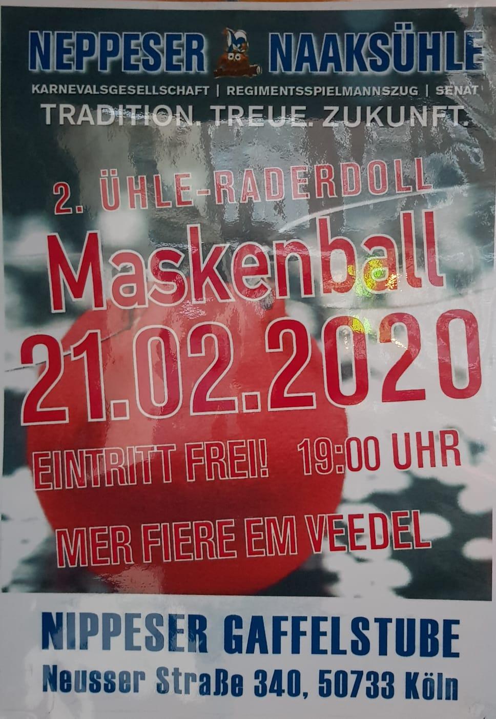 21.02.2020 Maskenball ab 19 Uhr